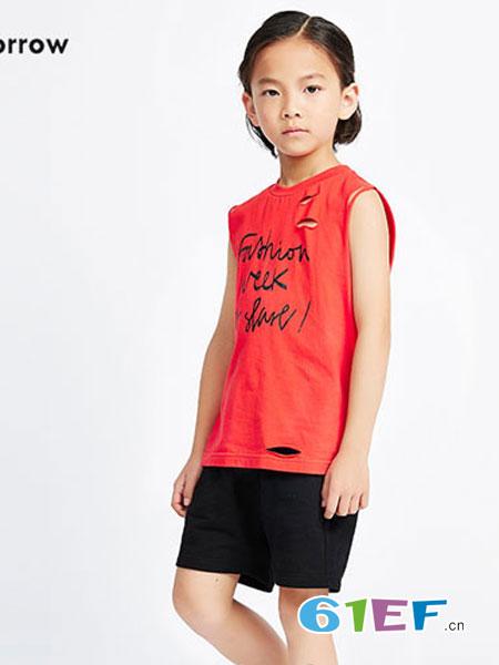 Sun Tomorrow尚T童装品牌纯棉红色短袖T恤男女文化衫