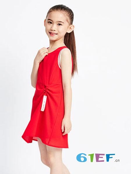Sun Tomorrow尚T童装品牌露背抽褶修身显瘦交叉纯色连衣裙
