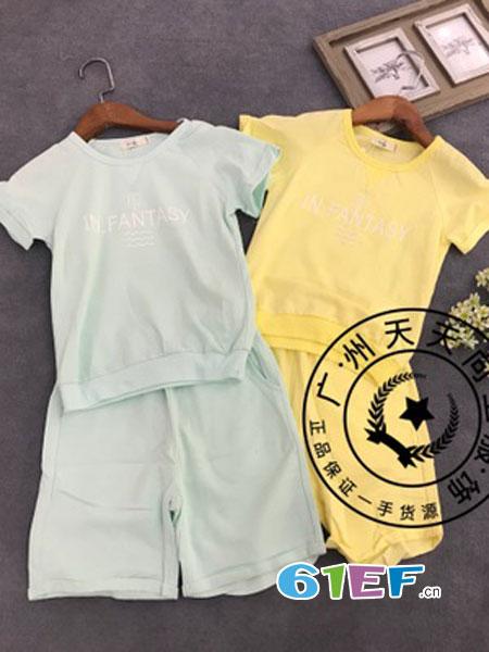 天天向上童装品牌2018春夏儿童休闲男女短袖t恤