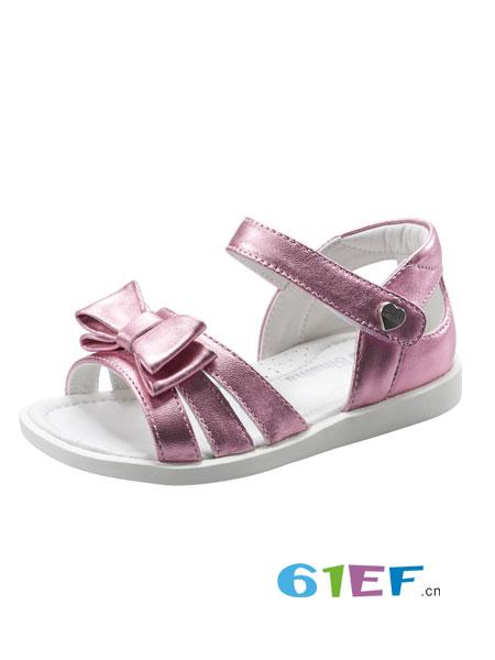 斯乃纳童鞋品牌2018春夏蝴蝶结羊皮公主鞋软底露趾凉鞋