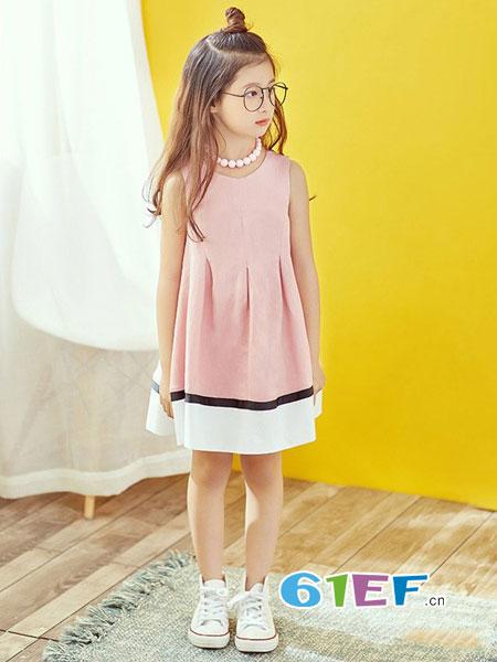 酷小孩童装品牌2018春夏韩版洋气中大童裙子无袖公主裙