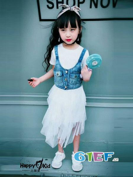 小嗨皮童装品牌2018春夏儿童公主裙女宝宝牛仔背心短袖裙两件套