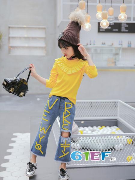玖�闯蓖�童装品牌2018春夏韩版儿童牛仔长裤女宝宝印花裤
