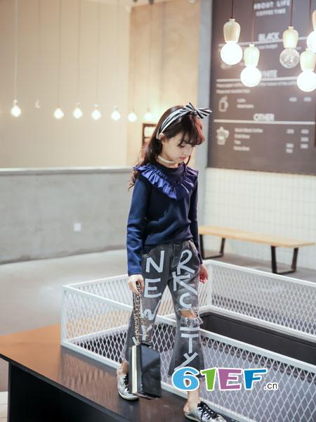 玖�闯蓖�童装品牌2018春夏韩版百搭花边毛线打底衫