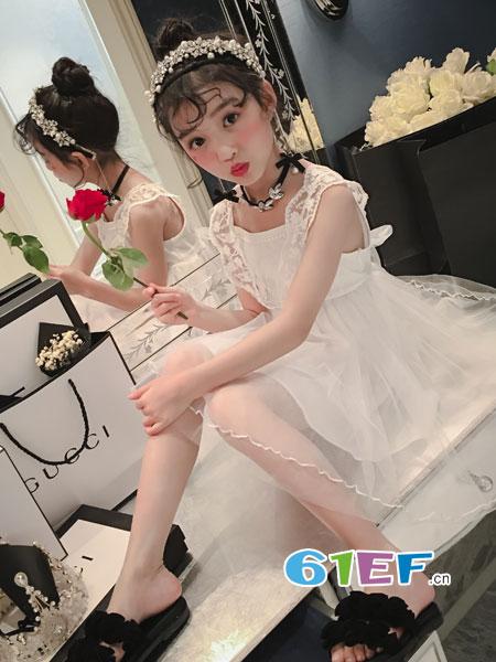 玖喆潮童龙8国际娱乐官网品牌2018春夏背心裙后背蝴蝶结网纱百搭儿童裙子