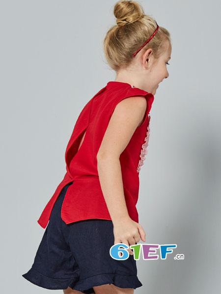 法纳贝儿童装品牌2018春夏红色荷叶边连衣裙