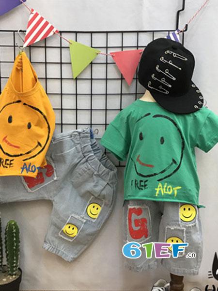 汇美童品HMTP童装品牌2018春夏笑脸短袖童装休闲运动两件套