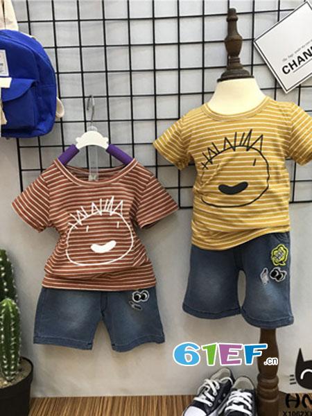 汇美童品HMTP童装品牌2018春夏儿童条纹T恤+针织牛仔中裤套装