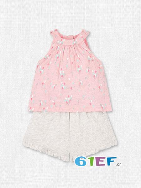mothercar童装品牌2018春夏女童背心短裤小童装两件套