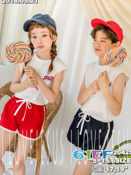 拉酷儿童装品牌2018春夏新款无袖T恤短裤运动套装