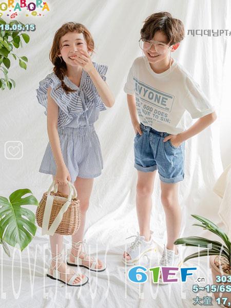 拉酷儿童装品牌2018春夏新款休闲百搭中大童牛仔短裤潮