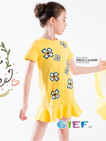 伊佳林IKALI童装品牌2018春夏新品小清新系列女童印花短袖连衣裙