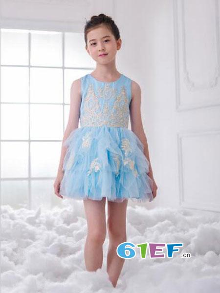 伊佳林IKALI童装品牌2018春夏公主蓬蓬裙短款蕾丝连衣裙