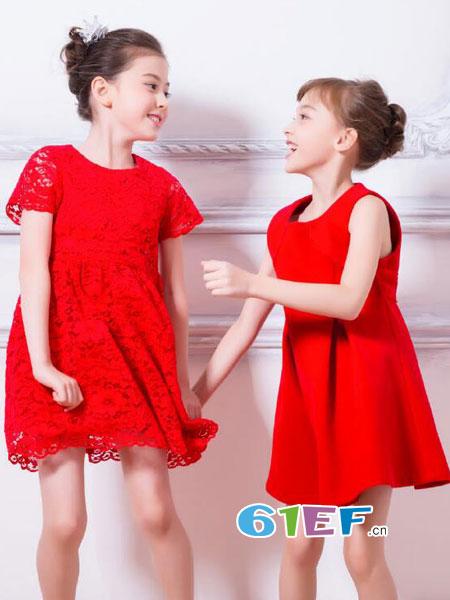 伊佳林IKALI童装品牌2018春夏短袖连衣裙宝宝红色蕾丝裙中小儿童公主裙