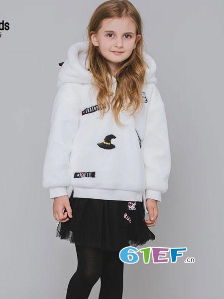 魔方童装品牌2018秋冬女童带兔耳朵连帽毛毛卫衣中长款外套