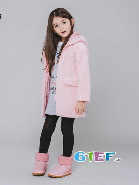 魔方龙8国际娱乐官网品牌2018秋冬女童羊羔毛连帽外套中大童中长保暖外套