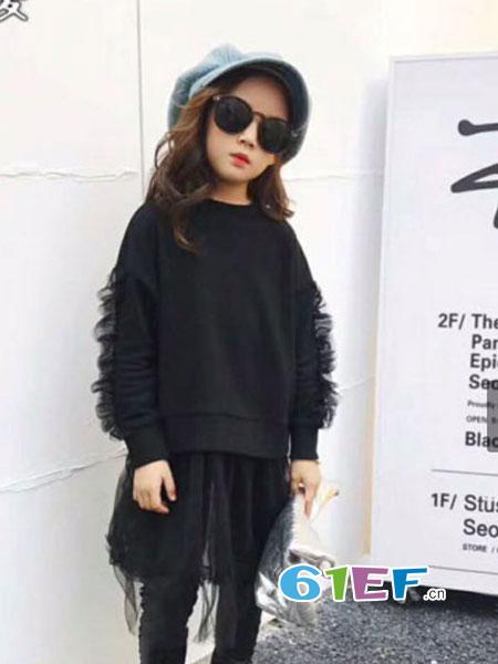 魔方龙8国际娱乐官网品牌2018秋冬新款长袖两件套裤脚蕾丝花边韩套装