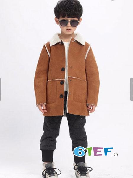 魔方龙8国际娱乐官网品牌2018秋冬新款中大儿童韩版麂皮绒外套