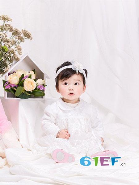 咿呀婴童用品2018春夏娃娃领连体哈衣网纱蓬蓬哈裙