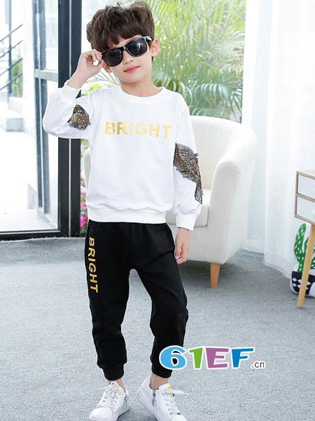 妙尼熊童装品牌2018春夏纯棉两件套春季运动服休闲