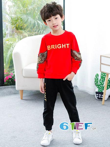 妙尼熊童装品牌2018春夏韩版童装中小童卫衣两件套运动服
