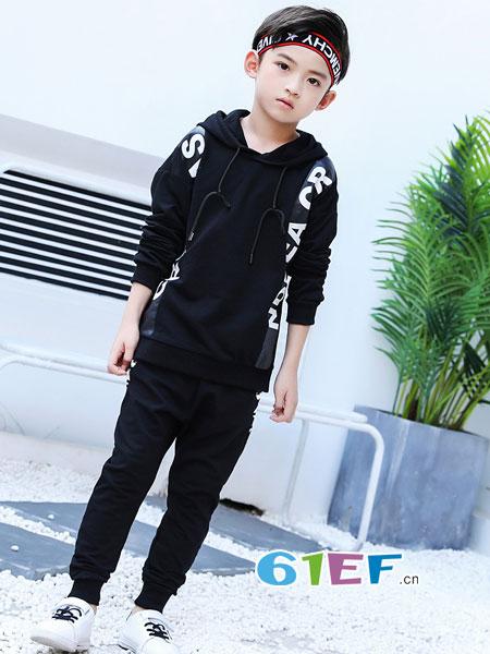 妙尼熊童装品牌2018春夏童装长袖运动休闲服两件套