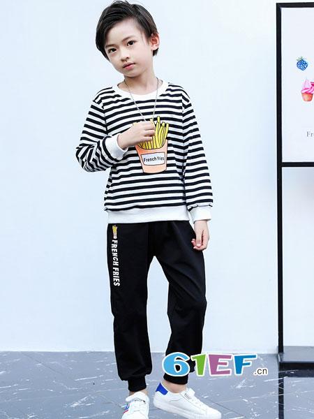 妙尼熊童装品牌2018春夏条纹长袖卫衣运动装