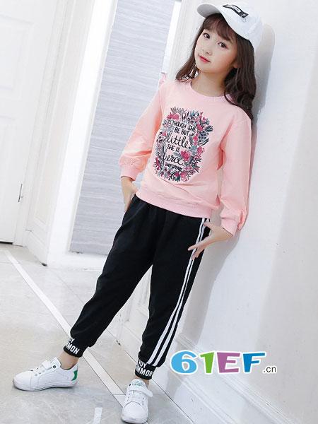 妙尼熊龙8国际娱乐官网品牌2018春夏花环刺绣韩版圆领套头抓绒卫衣
