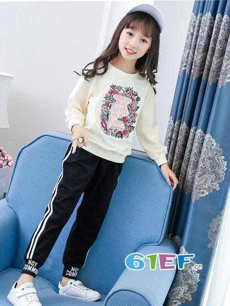 妙尼熊龙8国际娱乐官网品牌2018春夏时尚中大女童绣花衣服韩版童套装两件套