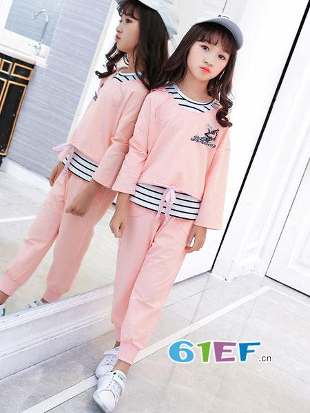 妙尼熊龙8国际娱乐官网品牌2018春夏女童三件套中大童运动女孩童套装