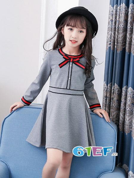 妙尼熊龙8国际娱乐官网品牌2018春夏中大童蝴蝶结新款长袖公主儿童裙