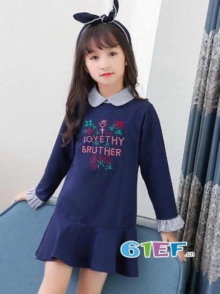 妙尼熊龙8国际娱乐官网品牌2018春夏韩版学院风长袖公主裙洋气女大童裙
