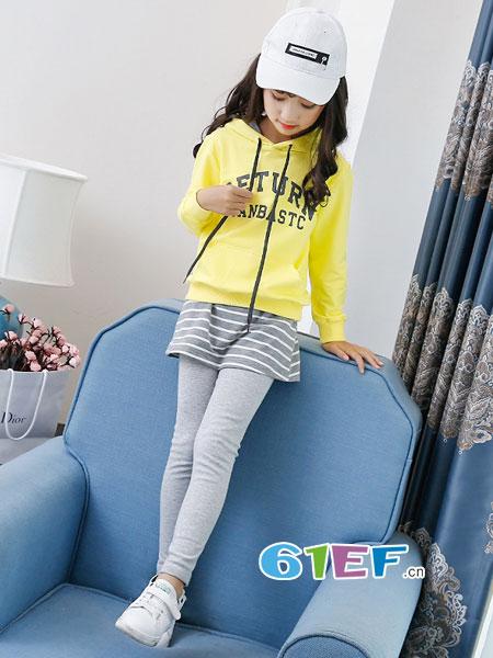 妙尼熊龙8国际娱乐官网品牌2018春夏时尚女童运动套装新款印花卫衣裙裤两件套