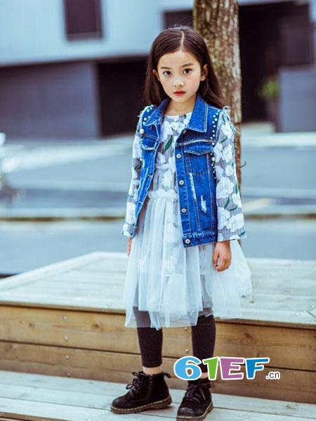 梦芭兔童装品牌2018秋季中大童韩版拼接纱花朵超仙纯棉连衣裙