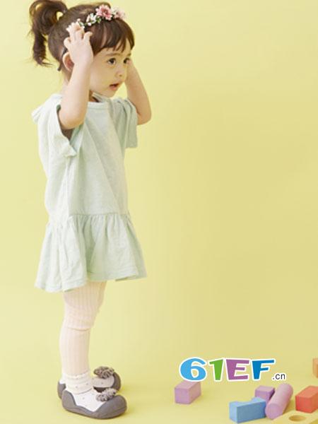 阿弟葩鞋童装品牌2018春夏小飞袖绣花小清新布衣童装女宝宝连衣裙