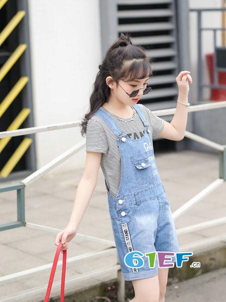 逗龙王子童装品牌2018春夏大童条纹牛仔背带裤两件韩版背带短袖
