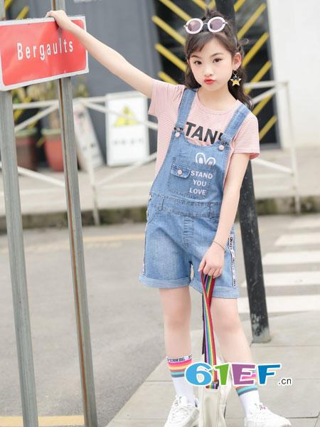 逗龙王子童装品牌2018春夏女童中大童背带裤套装