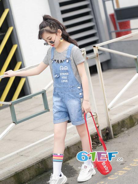 逗龙王子童装品牌2018春夏韩版女童牛仔背带裤中大童休闲薄