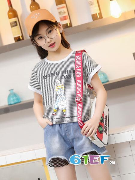 逗龙王子童装品牌2018春夏中大童短袖t恤韩版时尚宽松条纹半袖潮