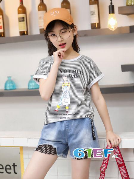逗龙王子童装品牌2018春夏老头印花条纹圆领纯棉短袖T恤