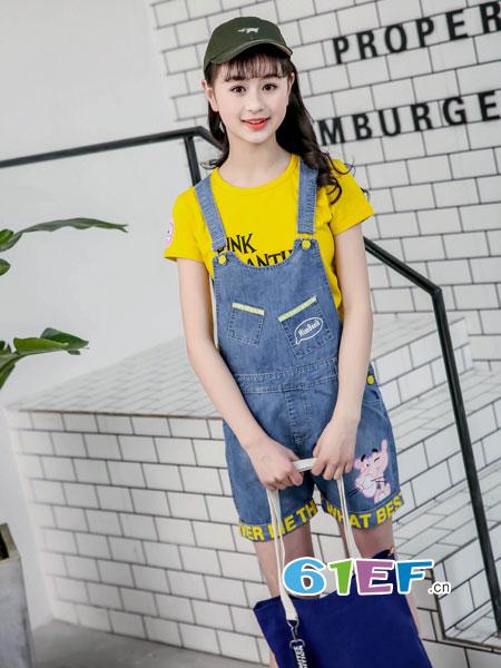逗龙王子童装品牌2018春夏新款宽松韩版学生可爱高腰薄款阔腿连体短裤