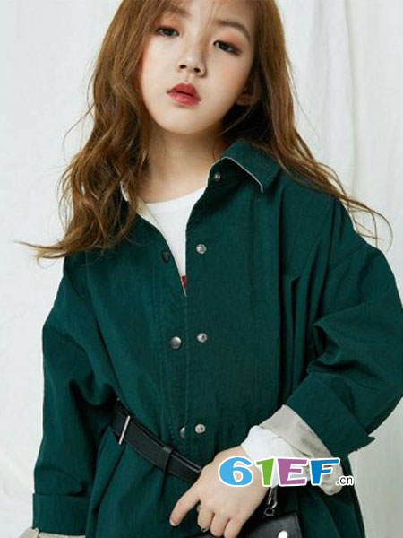 HIHUG童装品牌2018秋冬新品韩版女孩毛线衣圆领开衫儿童针织衫外套