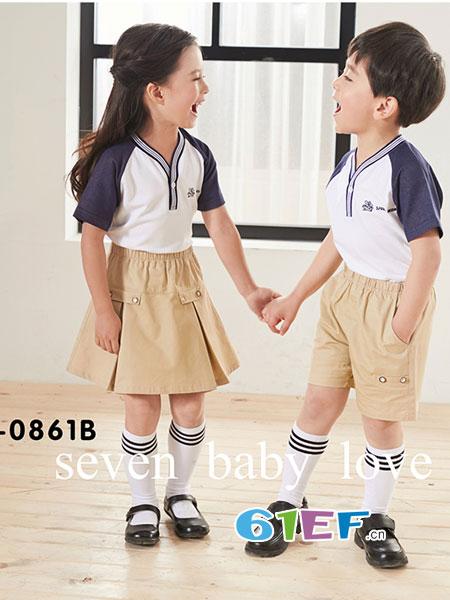 七朵童爱童装品牌2018春夏演出服初中生中学生套装班服