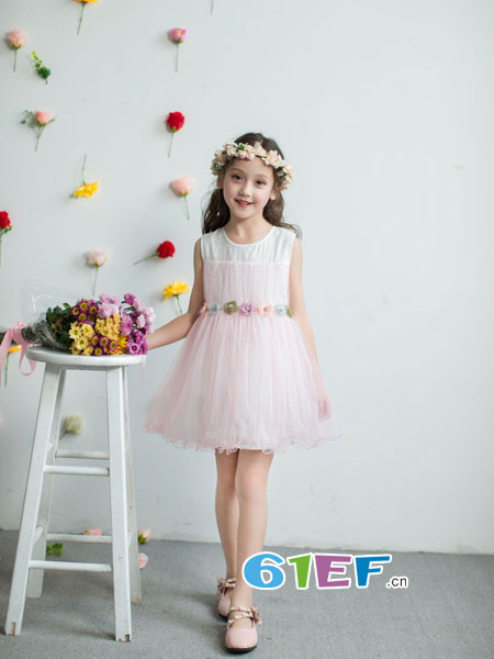 巴比兔童装品牌2018春夏新款小女孩韩版中小童三朵花网纱公主裙