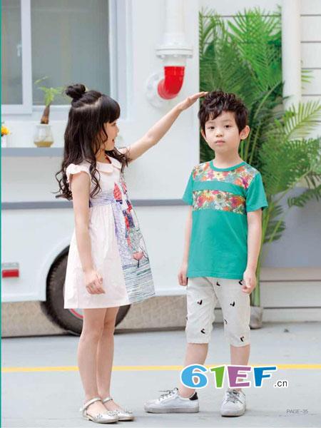 巴比兔童装品牌2018春夏圆领T恤韩版短袖短裤时尚休闲风