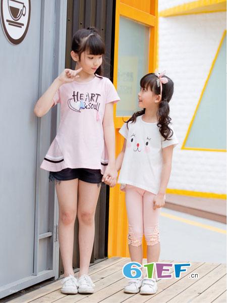 巴比兔童装品牌2018春夏刺绣笑脸日系风短袖T恤女
