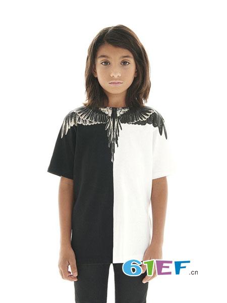 RollingKids童装品牌2018春夏黑白拼色领口处翅膀图案短袖T恤