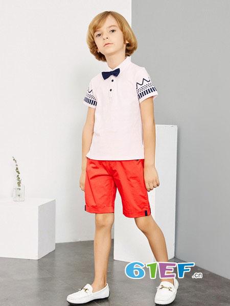 米喜迪龙8国际娱乐官网品牌2018春夏新款男童袖子印花领结针织翻领T恤