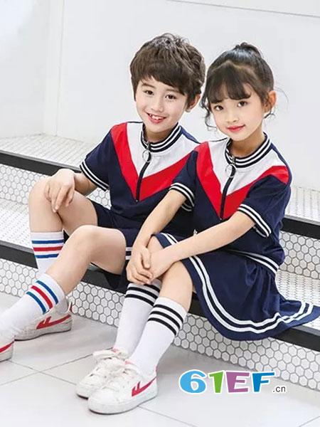 校园大道童装品牌2018春夏新款中大童运动套装男女童短袖两件套班服校服学