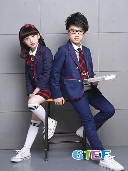 校园大道童装品牌2018春夏小学生英伦风校服套装儿童学院小西装四件套